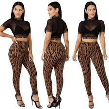 <b>Women Luxury Designer 2pcs</b> Tracksuits Summer Crop Tops Long