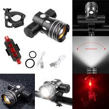 <b>USB</b> Rechargeable <b>Bike</b> T6 Front <b>Headlight Tail Light</b> Set For Night ...
