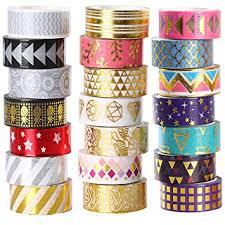 Amazon.com: 21 Rolls Foil <b>Washi</b> Tape - Gold & Colored Metallic ...