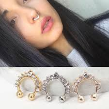 <b>2PC</b> Crystal Flower Nose Ring Fake <b>Piercing</b> Jewelry For Women ...