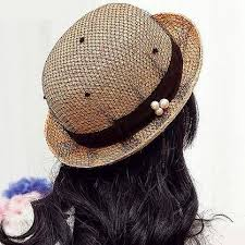 Fashion mesh straw bowler hat with pearl for women khaki <b>sun hats</b>