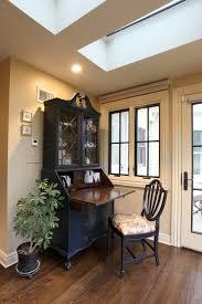 modern secretary desk home office farmhouse with beige walls black window trim home office in kitchen blue brown home office