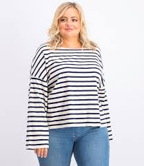 <b>Levi's womens striped</b> long sleeve tops beige navy | Brands For Less