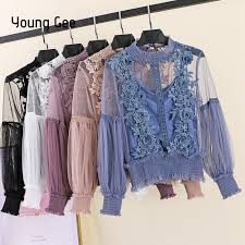<b>Young Gee</b> 2019 <b>Spring</b> Autumn <b>Women</b> Tops Fashion Sexy Sheer ...