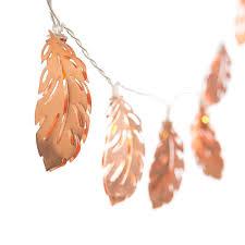 Rose <b>Gold</b> Feather <b>Copper</b> Metal 5Ft 10 <b>LED</b> Lantern String Lights ...