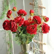 Buy Ageneral (Xiuxingzi) <b>Artificial Fake Western Rose</b> Flower Peony ...
