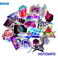 <b>20pcs</b> 4 <b>Style</b> Laser Flash Dazzling Cool <b>Colorful</b> Stickers for Mobile ...