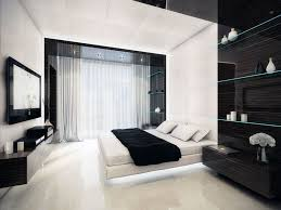 contemporary bedroom designed with black and white bedroom ideas completed with floating tv cabinet bedroom ideas black white
