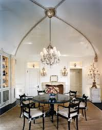 awesome vaulted ceiling ideas with black dining chairs and chandelier also sisal rug for modern interior awesome pendant lighting sloped ceiling