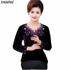 <b>Spring Autumn</b> New <b>Gold Velvet</b> T shirt Women Fashion Slim ...