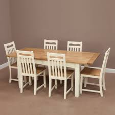 Oak Furniture Dining Room Cotswold Cream Painted Solid Oak Extending Dining Table 6 Cream