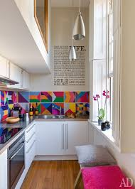 small space kitchen ideas: a very narrow space becomes larger than life with bright hues