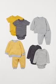 <b>Комплект</b> 8 <b>предметов</b>, хлопок - Желтый/Полоска - | H&M RU