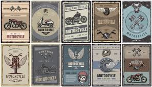 Free Vector | <b>Vintage</b> colored motorcycle posters set with classic ...