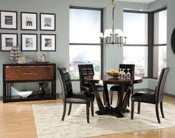 remarkable round two tone high gloss finish mahogany wood contemporary dining table and four black leather chair unusual dining chairs