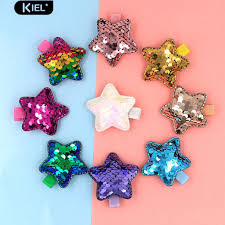 <b>1PC Baby</b> Girls Shiny Sequins Five-pointed <b>Star Shape</b> Side Clip ...