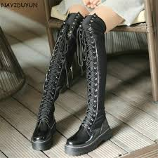 <b>NAYIDUYUN</b> Thigh High Boots <b>Women</b> Black Lace Up Over The ...