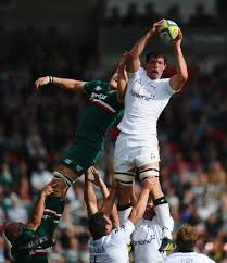 Jamie Gibson Dominic Barrow of Newcastle Falcon wins the lineout from Jamie Gibson of Leicester Tigers. Leicester Tigers v Newcastle Falcons - Aviva ... - Jamie%2BGibson%2BLeicester%2BTigers%2Bv%2BNewcastle%2BWYn8Gs8RjtDl