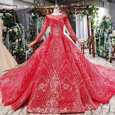 LSS200 <b>red wedding</b> dresses with rose flowers round neck long ...