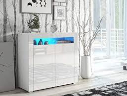 Impact Furniture <b>Modern White</b> High Gloss Sideboard with Blue <b>LED</b> ...
