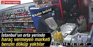 DHKP-C'lilerin Armutlu'da bir marketi ateşe vermesi kamerada