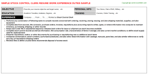 document control clerk resumes   stock control clerk