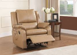 Kings Brand Furniture - Light <b>Brown Faux Leather Massage Recliner</b> ...