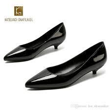 Ladies Shoes Black Pumps Patent Leather 3CM Low Heel Shoe ...