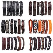 6pcs/set <b>Vintage Punk Leather Bracelet</b> Wristband Bangle Men ...