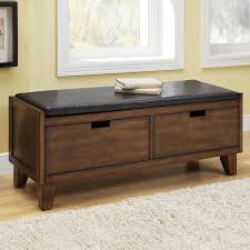 x contemporary bedroom benches: tufted modern brown finish bedroom bench with double drawer