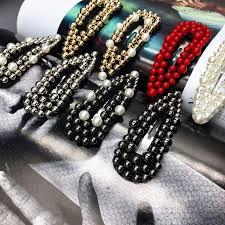 <b>1pcs Fashion</b> Red black Pearl <b>Hair</b> Clip for <b>Women</b> Elegant Korean ...