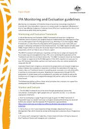ipa monitoring and evaluation guidelines fact sheet department you are here