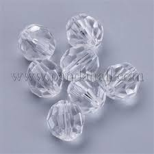 Wholesale <b>Transparent Acrylic</b> Beads, Faceted, Round, <b>Clear</b> ...