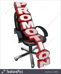 signs and info promotion word office chair new job responsibility the word promotion on a black office chair to represent new job opportunity and advancement in career opportunity