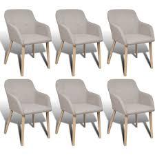 vidaXL 6x Solid <b>Oak</b> Wood <b>Dining</b> Chairs <b>Fabric</b> Beige Kitchen ...
