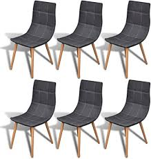 vidaXL <b>6 pcs</b> Fabric <b>Dining Chair</b> Set Dark Grey: Amazon.co.uk ...