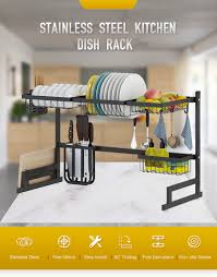 Black 65/85cm <b>Stainless Steel Kitchen</b> Dish Rack U Shape Sink ...