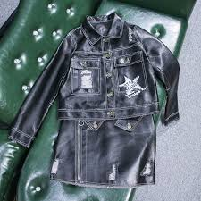 2019 <b>New</b> Real 100% <b>Leather Sheepskin</b> Grinded Jacket Denim ...