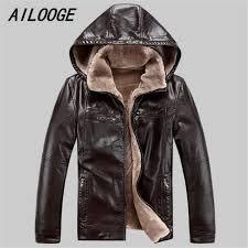 AILOOGE <b>Men PU leather jackets</b> 2017 New brand plus velve ...