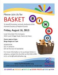 basket bingo bash for homeless animals the humane society of event flyer