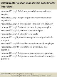 top  sponsorship coordinator resume samples