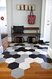 Hexagon Tile Floor Patterns Hex Tile Mudroom With Transition To Wood Floor Kitchen Loving The