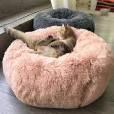 Round Plush Cat Bed Dog House Puppy Cushion Pet Sleep ... - Vova