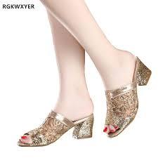 <b>RGKWXYER</b> Female Slippers Sequin High Heel <b>Sandals</b> Slippers ...