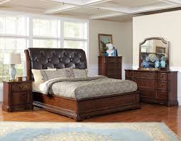 leather bedroom suite  pc zanna collection traditional style brown cherry finish queen bedro