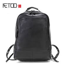 <b>AETOO Leather</b> men's <b>shoulder</b> bag head layer <b>leather</b> backpack ...