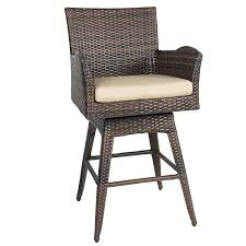 patio stool: best choice products outdoor patio furniture all weather brown wicker swivel bar stool with cushion