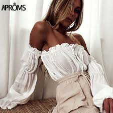 <b>Aproms</b> White <b>Off Shoulder</b> Cotton Tank Tops <b>Sexy</b> Flare Sleeve ...