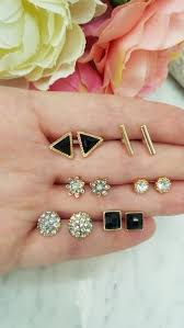 <b>Fashion</b> elegant black stud earrings <b>set</b> ( <b>6 pairs</b>) – Ivonne's