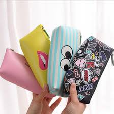 wholesale 1pc cute simle lip pu leather pencil case stationery storage box school office supply escolar papelaria gift stationery cheap leather office cheap office storage